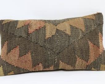 10x20 Geometric Kilim Pillow Sofa Pillow 10x20 Decorative Kilim Pillow Ethnic Pillow Handwoven Kilim Pillow Throw Pillow  SP3050-917