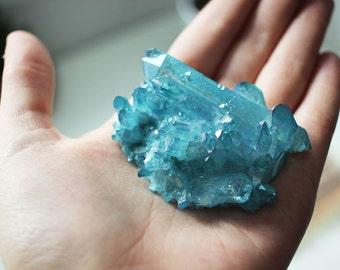 20% OFF - Aqua Aura Quartz Cluster | Large Aqua Aura Quartz Cluster | Aqua Aura Quartz | Blue Aqua Aura Quartz Crystal | Boho Decor | #21