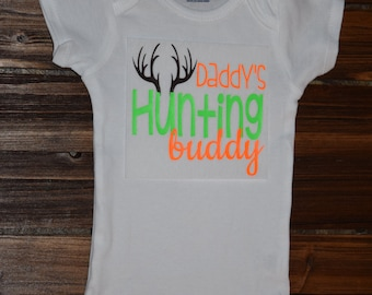 Daddy's Hunting Buddy Baby  Baby Shower Gift Nursery Custom Clothing Infant {K258}
