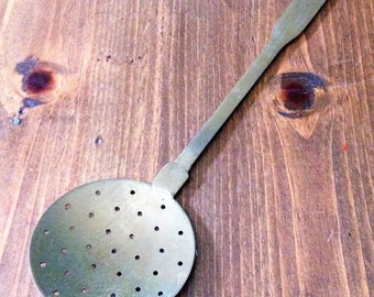 Primitive Brass Slotted Spoon Skimmer Farmhouse Rustic Spatula Kitchen Utensil Serving Kitchen Large Round Metal hook hanging