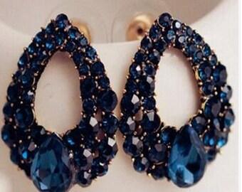 Natural Stone Fashion Black Blue  Earrings