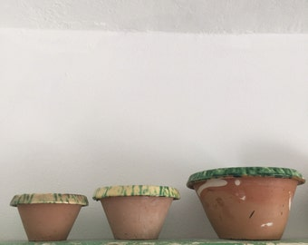 Italian vintage terracotta part glazed  pots 17x10 cm , 12x 8 cm , 10 x 6 cm , set of 3