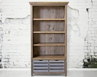 Bookcase, Book Shelves, Reclaimed Wood, Cabinet, Handmade, Rustic