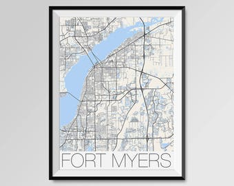 FORT MYERS Florida Map, Fort Myers City Map Print, Fort Myers Map Poster, Fort Myers Wall Art, Fort Myers gift, Custom city Personalized map