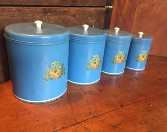 Retro Tin Nesting Canister Set