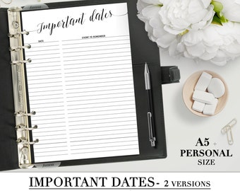 Printable IMPORTANT DATES insert for your personal and A5 planner_Special dates list planner_Black & White style_Two different style