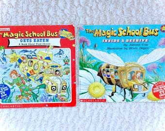 The Magic School Bus Book Lot of 2 Vintage 1996 Magic SchoolBus Gets Eaten and Inside The Beehive Ms Frizzle 90s Kid TV Shows Cartoons