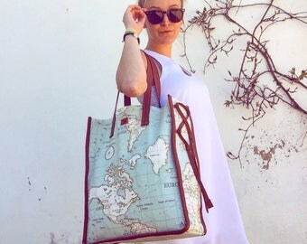 Bag Tote - World Map Blue