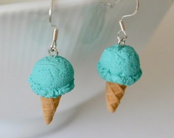 Blue Moon Ice Cream Cone Earrings - Polymer Clay Miniature Food Jewelry