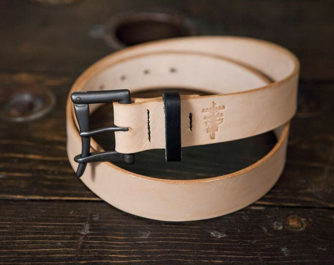 "1.5"" Black & Natural Quick Release Belt- Black Buckle with Natural Vegetable Tanned Leather with Black Bridle Keeper"