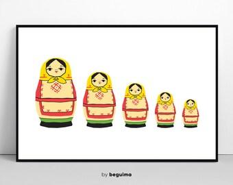 MATRYOSHKA Print, Matryoshka Poster, Matryoshka Wall Art, Russian Doll, Nursery Decor, Printabel Art, Large Poster, Digital Instant Download