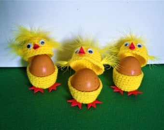 Easter egg crochet cosy, egg cosies set of 3 crochet yellow chickens, Easter egg cover, crochet Easter egg cozy, Easter decorations, chick
