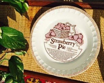 Vintage Royal China by Jeanette Strawberry Pie Plate featring Recipe - Stoneware Pie Plate - Made in USA
