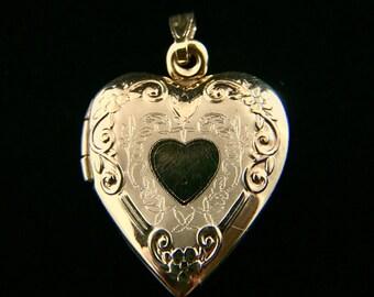 14K Yellow Gold Heart Locket Pendant