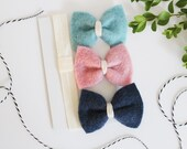 Hair bows for girls - Grow With Me Set - Felt Bows - Harebow Classic Set with squared corners