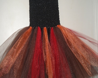 Tutu-bustier, black, red, and orange, one size fits 2-6 years