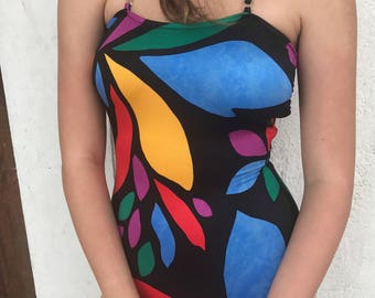 Halter Strap Abstract Shapes  Bathing Suit