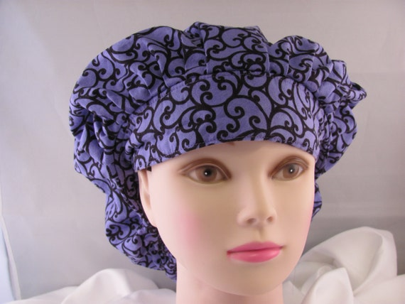 Women's Bouffant Scrub Hat Purple and Black Pattern