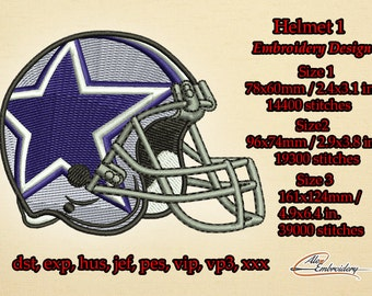 Helmet of the player  #1 embroidery design. 3 sizes. 8 embroidery formats.