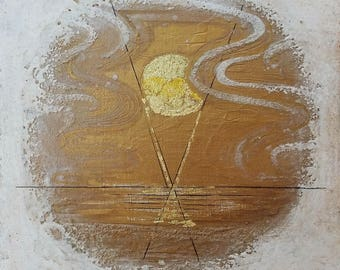 """Table painting / original work / Art / Decoration / """"Sun white and gold"""""""
