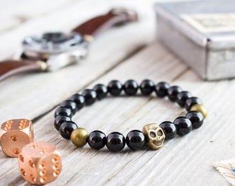 8mm - Black onyx beaded stretchy bronze skull bracelet, custom made gemstone bracelet, mens bracelet, black bead bracelet, womens bracelet