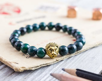 8mm - Greenish chrysocolla beaded gold Lion head stretchy bracelet, made to order yoga bracelet, beaded mens bracelet, womens bracelet