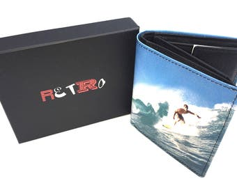 Surfing mens premier quality leather trifold  wallet