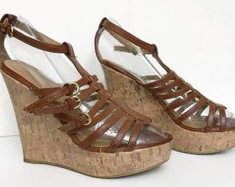 90's Platform Brown Leather Sandals Wedges By Soda