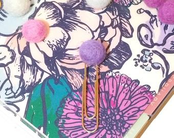 POM POM PAPERCLIP | Felt Pom Pom on Jumbo Paperclip | Lavender