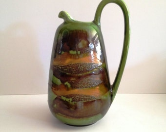 Haeger Pottery Signed Royal Haeger USA Green Jug With Earth Wrap Glaze; New Vintage