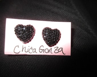Sophisticated Black Heart Earrings Upcycled