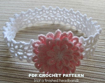 Instant Download Crochet Pattern White Headband with a Pink Flower