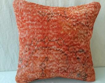 "16""×16""İnches, Orange Pillow, Cushion Cover, Throw Pillow, Tribal Pillow, Turkish Carpet Pillow, Kilim Pillow, Pillow Cover, Decor, Ethnic"