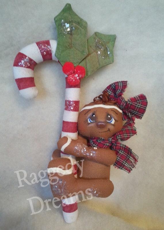 Handmade Primitive Gingerbread Girl - Candy Cane - Christmas Ornament - Vintage Mica Flakes - Homespun #2
