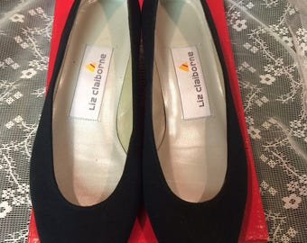 Vintage 1980's, Liz Claiborne, Black Fabric Low Heel Shoes, New in Box, Size 5 1/2 Med., Made in Spain