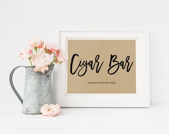 Wedding Sign Template   Cigar Bar Sign   Wedding Sign   Printable Wedding Sign   5x7 & 8x10   EDN 5466