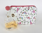 Cosmetic Make Up Bag Project Bag Craft Bag Zipped Pouch Pencil Case Garden Birds  Little Birds