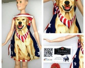 Barbie Dress July 4th Independence day Party outfit. Labrador picture Perfect  Picnic outfit celebrate the holidays One of a kind