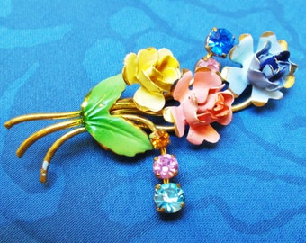 Vintage  Enamel & Crystal Brooch  - A Bouquet of Roses - Unmarked - Used