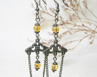 Citrine Earrings-Chandelier Earrings-Vintage Earrings-Dangle Earrings-Gemstone Earrings-Romantic Earrings-Boho Earrings-FREE SHIPPING