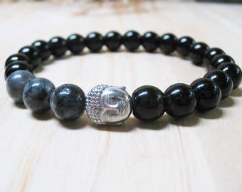 Buddha Bracelet Mens Bracelet Black Onyx Bracelet Gemstone Bracelet Protection Bracelet Power Bracelet Labradorite Bracelet Mala Bracelet