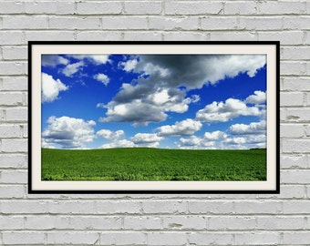 """Panoramic Blue Cloudy Sky, Panoramic White Clouds, Green Panorama Landscape, Panoramic Sky Picture, Blue Sky Photo, Green Decor """"Adrift"""""""
