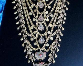 OLD CHANDA HAAR - Long Vintage Multi-Strand Tribal Necklace from Kashmir