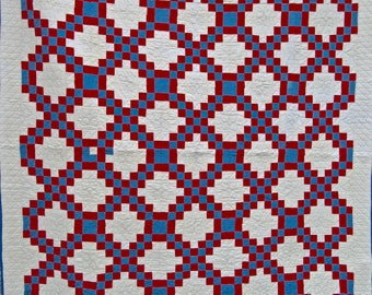 Double Irish Chain Antique Quilt in Blue and Red on White