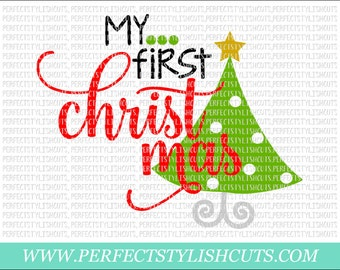 My First Christmas SVG, DXF, EPS, png Files for Cutting Machines Cameo or Cricut - Babys First Svg, Santa Claus Svg, 1st Christmas Svg