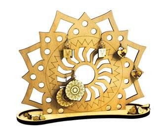 Mandala jewelry holder - wood organizer - engraved - lasercut - jewelry holder - wooden art - earring holder - jewelry hanger -earring stand