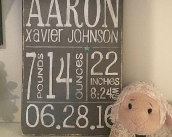 Baby stat plaque