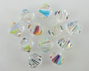 12 8mm Swarovski crystal bicone 5301 Crystal AB beads 614