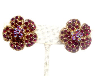 Vintage Flower Shaped Clip Earrings w/Red and AB Red Rhinestones