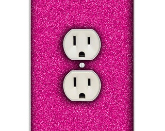 Hot Pink Glitter Decorative Outlet Cover 2 Holes Light Switch Cover - Decorative Outlet Cover Switch Plate Cover